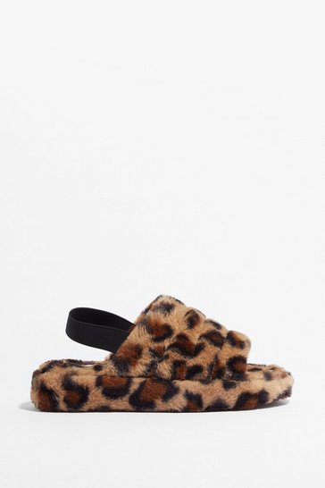 Brown Go Faux Fur It Leopard Slingback Slippers