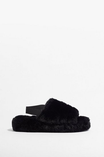 Black Go Faux Fur It Slingback Platform Slippers