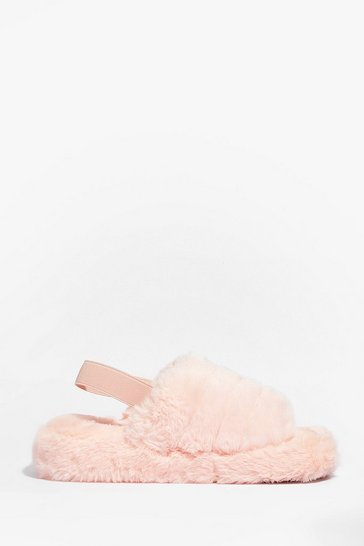 Pink We're There Faux Fur You Chunky Slippers