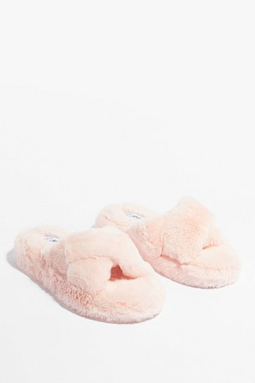 Pink Cross the Line Faux Fur Platform Slippers