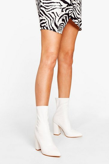 White Pointed Faux Leather Heeled Sock Boots