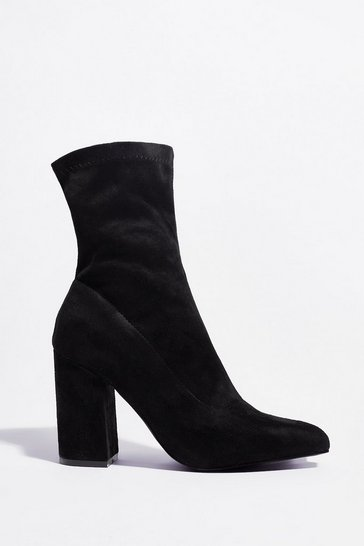 Black That's a Good Point Faux Suede Block Heel Boots