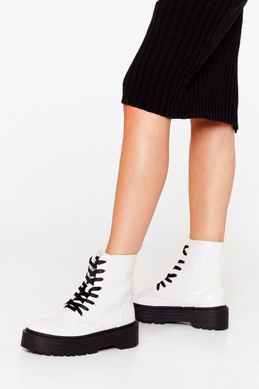 White We've Croc Your Back Contrast Biker Boots