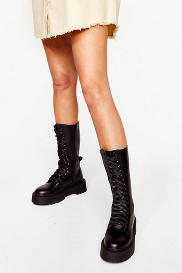 Black Lace-Up the Stakes Cleated Calf High Boots