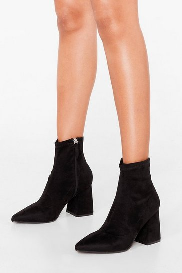 Black Strut Out Faux Suede Ankle Boots