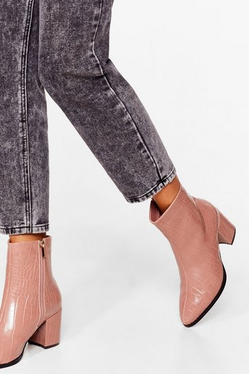 Nude Crocin' Around Block Heel Ankle Boots