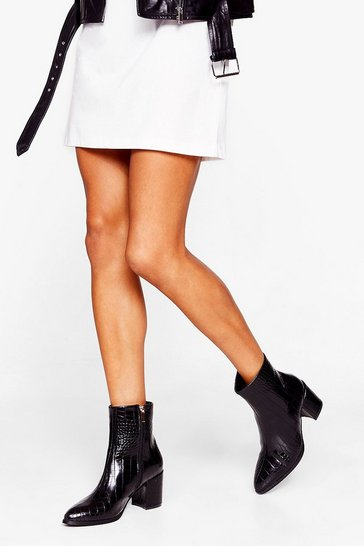 Black Croc Off Please Heeled Ankle Boots