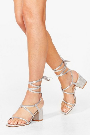 Silver Tie Our Lock Croc Block Heel Sandals