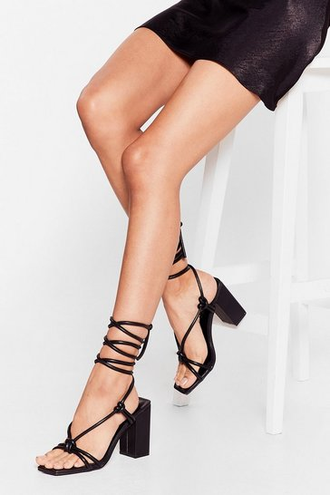 Black Heel the Love Strappy Block Heels