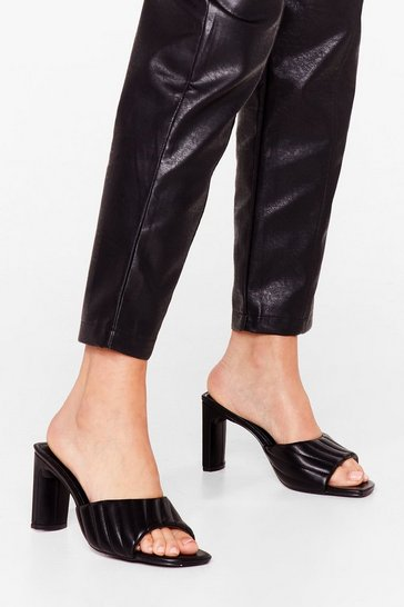 Black Square the Love Faux Leather Block Heel Mules