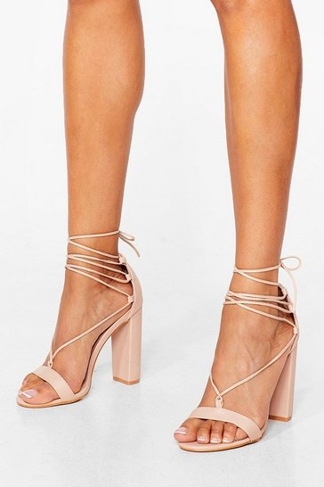 Nude Let's Lace It Strappy Block Heels