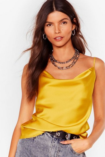 Chartreuse Sleek Me Out Satin Cowl Top
