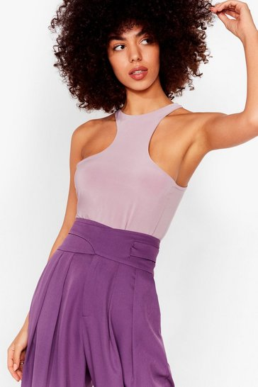 Mauve Life in the Fast Lane Slinky Racerback Bodysuit