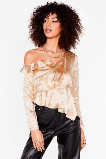 Champagne One Shoulder 'Em the Door Satin Ruffle Top
