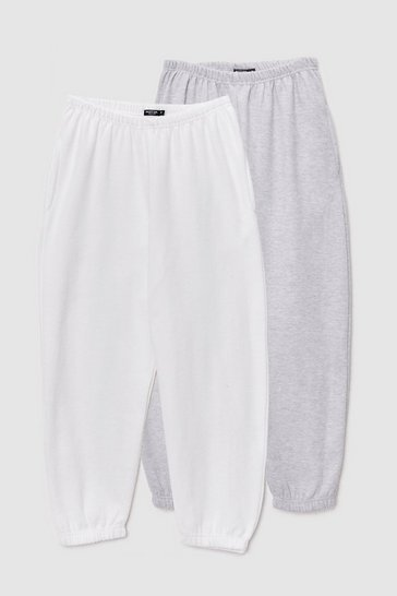 White On the Run Relaxed 2-Pc Jogger Set