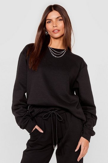 Black Come Over Here Crew Neck Oversized Sweatshirt