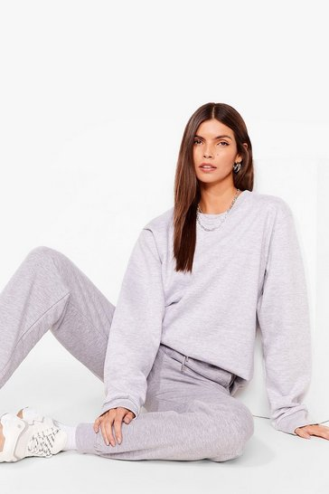 Grey Come Over Here Crew Neck Oversized Sweatshirt