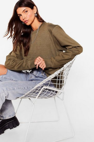 Khaki Come Over Here Crew Neck Oversized Sweatshirt
