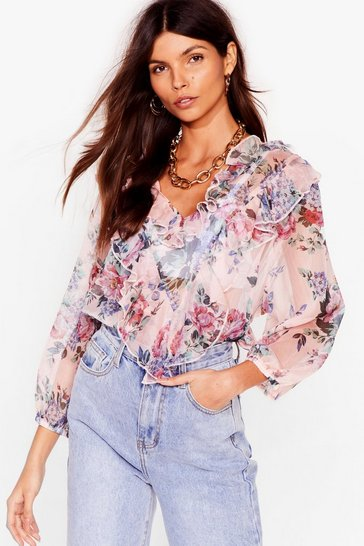 Apricot Nothing Bud Love Chiffon Floral Blouse