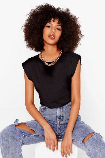 Black Crop Right There Shoulder Pad Tee