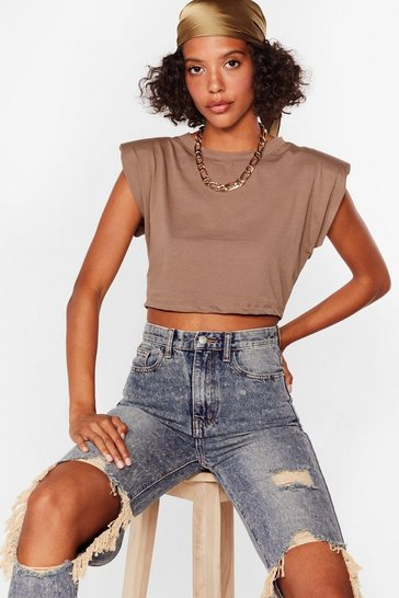 Stone Crop Right There Shoulder Pad Tee
