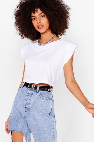 White Crop Right There Shoulder Pad Tee