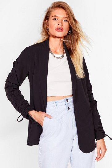 Black Ruched Off Our Feet Relaxed Blazer