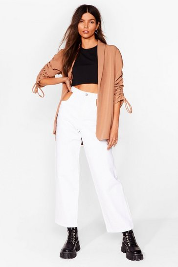 Toffee Ruched Off Our Feet Relaxed Blazer