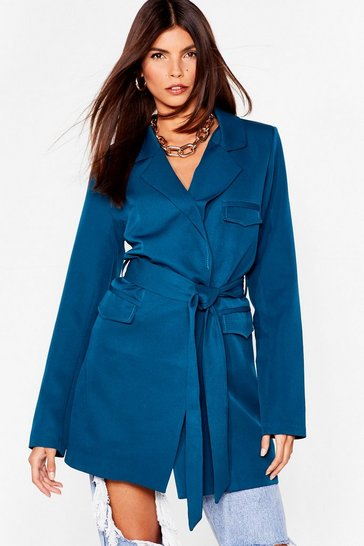 Teal We're a Big Deal Oversized Belted Blazer