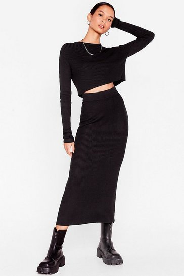 Black Knit's a Perfect Match Crop Top and Skirt Set