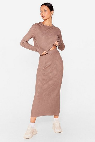Chocolate Knit's a Perfect Match Crop Top and Skirt Set