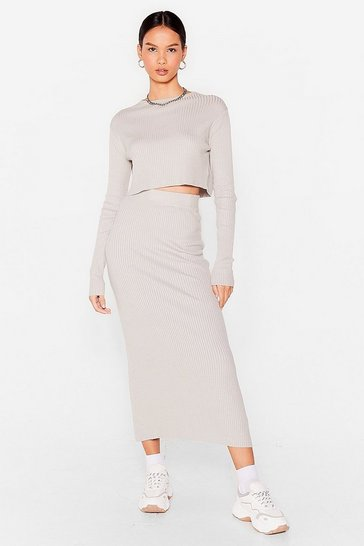 Grey Knit's a Perfect Match Crop Top and Skirt Set