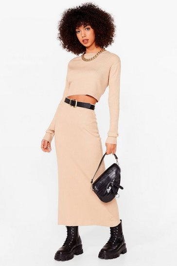 Oatmeal Knit's a Perfect Match Crop Top and Skirt Set