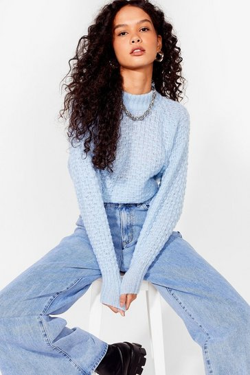 Baby blue And Your Pointelle is Oversized Knit Sweater