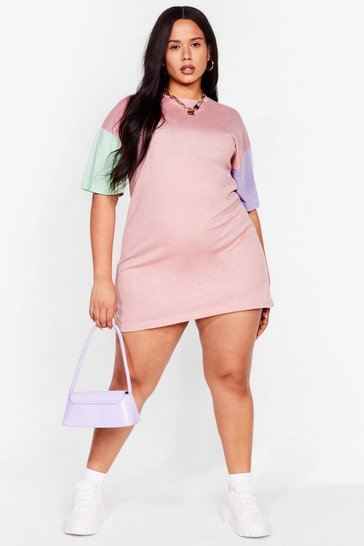 Pink New Kid on the Colorblock Plus Tee Dress