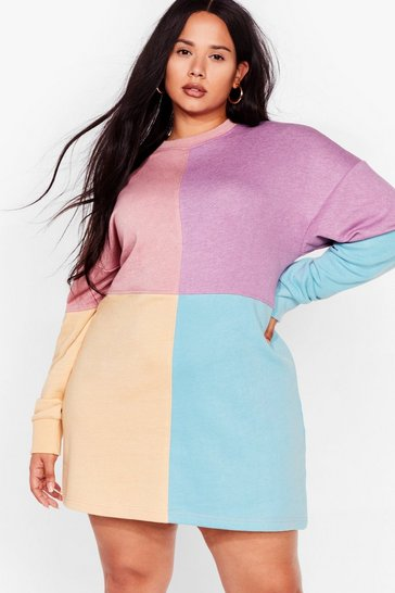 Pink Be Bright There Plus Colorblock Dress