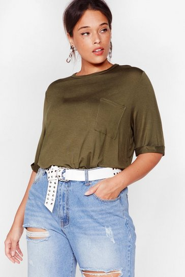 Khaki In Your Pocket Plus Relaxed Tee