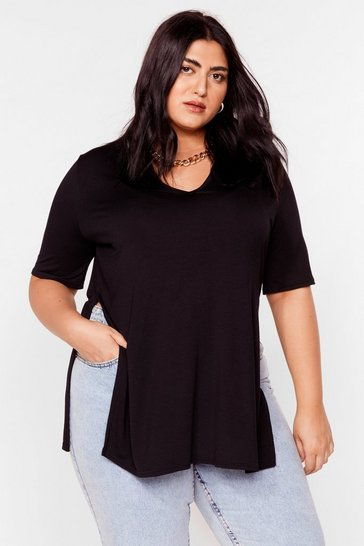 Black Let's Split Up Plus Longline Tee