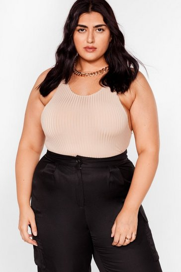 Sand Plus Size Ribbed Racerback Bodysuit