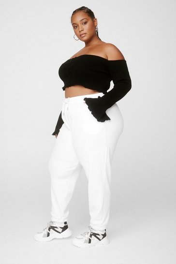White Run It By Us Plus High-Waisted Joggers