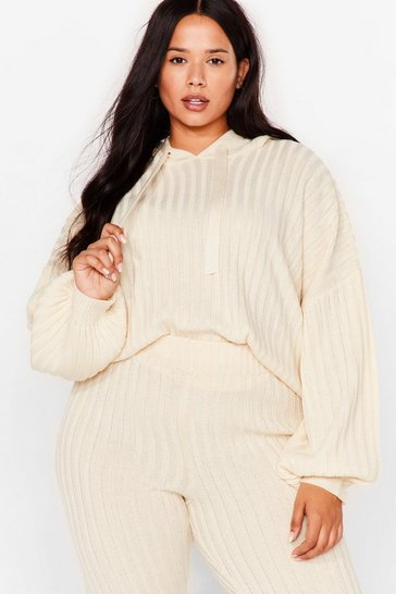 Cream Get Knit Done Plus Ribbed Hoodie