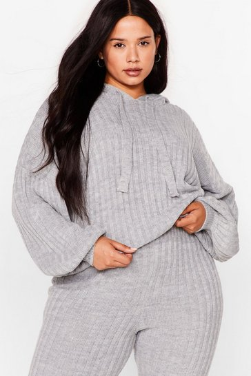 Grey Get Knit Done Plus Ribbed Hoodie