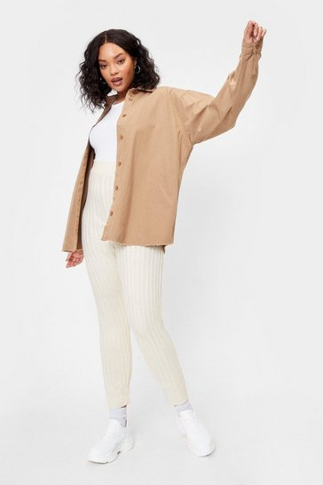 Cream Rise Above Knit Plus High-Waisted Joggers