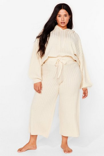 Cream Get Knit Done Plus Wide-Leg Culottes