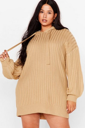 Oatmeal Get Knit Done Plus Ribbed Hoodie Dress