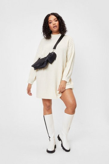 White Knit Different Plus Turtleneck Midi Dress
