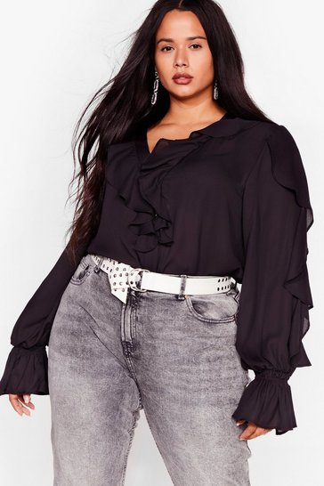 Black Plus Size Ruffle Button Up Blouse