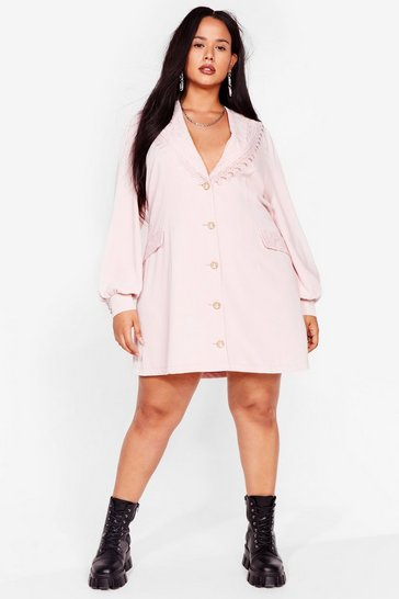 Plus Size Vintage Style Lace Collar Blazer Dress, Pink