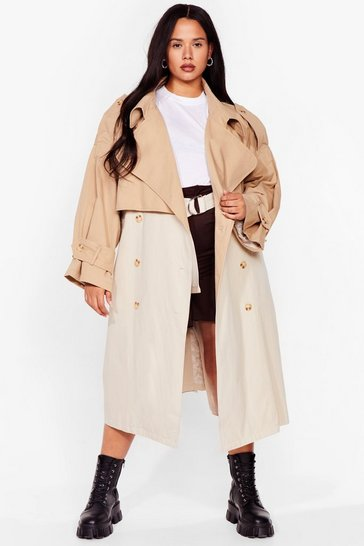 Camel Plus Size Two Tone Oversized Trench Coat