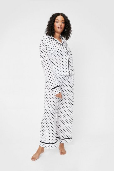 Black Plus Size Polka Dot Shirt and Pants Pajama Set